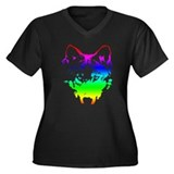 Vector Wolf Women's Plus Size V-Neck Dark T-Shirt