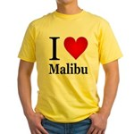I Love Malibu Yellow T-Shirt