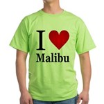 I Love Malibu Green T-Shirt