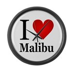 I Love Malibu Large Wall Clock