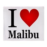 I Love Malibu Throw Blanket