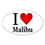 I Love Malibu Sticker (Oval 50 pk)