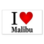 I Love Malibu Sticker (Rectangle 50 pk)