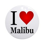 I Love Malibu Ornament (Round)