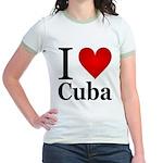 I Love Cuba Jr. Ringer T-Shirt