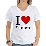 I Love Vancouver Women's V-Neck T-Shirt