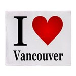 I Love Vancouver Throw Blanket