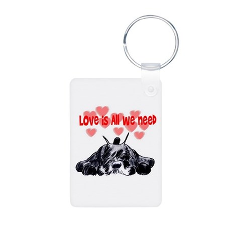 schnauzer love Aluminum Photo Keychain
