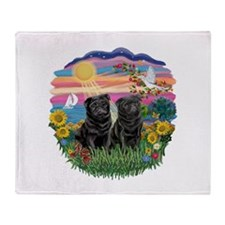 AutumnSun-Two black Pugs Throw Blanket
