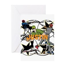 Custom Baseball Name Greeting Card
