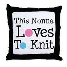 Nonna Loves To Knit Throw Pillow