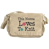 Nonna Loves To Knit Messenger Bag