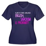 Fluent In Three Languages Women's Plus Size V-Neck