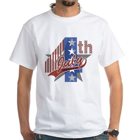4th of July White T-Shirt (to size 4X)