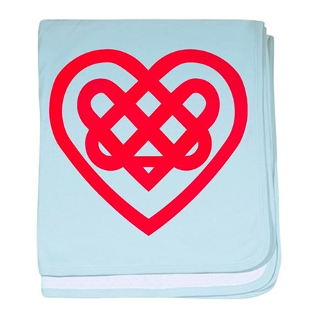 Red Celtic Knot Heart Valenti baby blanket