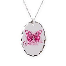 Survivor - Breast Cancer Necklace Oval Charm