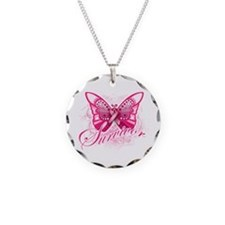 Survivor - Breast Cancer Necklace Circle Charm