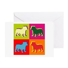 Bulldog Silhouette Pop Art Greeting Card