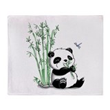Panda Eating Bamboo Throw Blanket