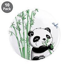 "Panda Eating Bamboo 3.5"" Button (10 pack)"