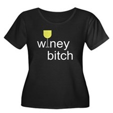 Winey Bitch Women's Plus Size Scoop Neck Dark T-Sh
