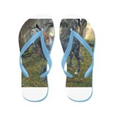 Moonlight Unicorn In Forest Flip Flops