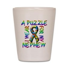 I Wear A Puzzle for my Nephew Shot Glass