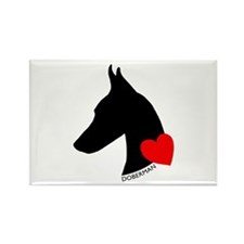 Doberman with Heart Silhouett Rectangle Magnet