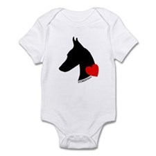 Doberman with Heart Silhouett Onesie