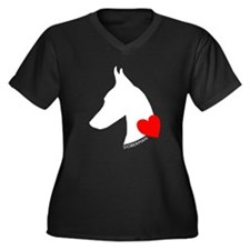 Doberman with Heart Silhouett Women's Plus Size V-