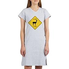 Llama Crossing Sign Women's Nightshirt