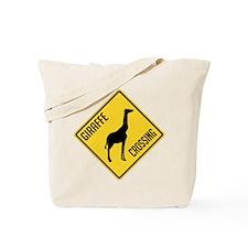 Giraffe Crossing Sign Tote Bag
