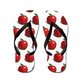Red Apple Fruit Pattern Flip Flops