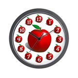 Red Apple Fruit Pattern Wall Clock