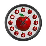 Red Apple Fruit Pattern Large Wall Clock