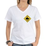 Turtle Crossing Sign Women's V-Neck T-Shirt