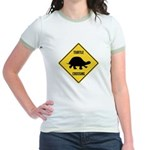 Turtle Crossing Sign Jr. Ringer T-Shirt