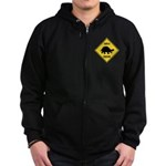 Turtle Crossing Sign Zip Hoodie (dark)