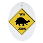 Turtle Crossing Sign Ornament (Oval)