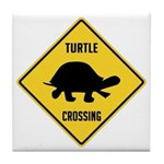 Turtle Crossing Sign Tile Coaster