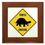 Turtle Crossing Sign Framed Tile