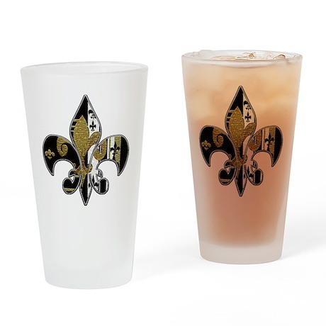 Fleur de lis Bling Drinking Glass