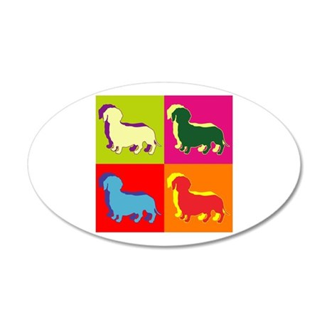 Dachshund Silhouette Pop Art 38.5 x 24.5 Oval Wall