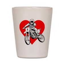 """I love dirt biking"" (Red) Shot Glass"
