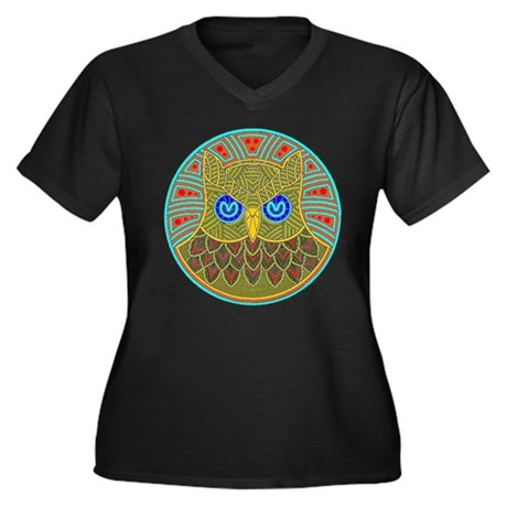 Vintage Owl Mandala Women's Plus Size V-Neck Dark