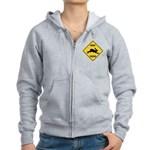 Rabbit Crossing Sign Women's Zip Hoodie