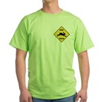 Rabbit Crossing Sign Green T-Shirt