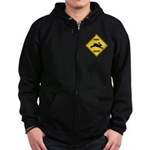 Rabbit Crossing Sign Zip Hoodie (dark)