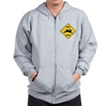 Rabbit Crossing Sign Zip Hoodie