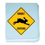 Rabbit Crossing Sign baby blanket
